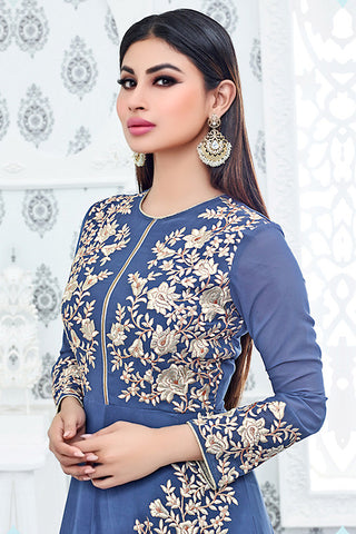 Indi Fashion Blue and Cream Semi Georgette Party Wear Suit