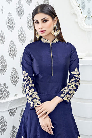 Indi Fashion Navy Blue and Cream Semi Georgette Party Wear Suit