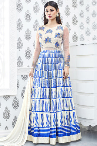 Indi Fashion Cream White and Blue Semi Georgette Party Wear Suit