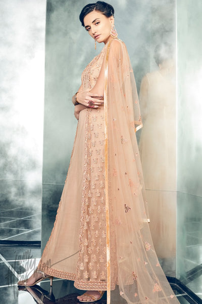Indi Fashion Peach and Beige Mono Net Long Jacket Style Party Wear Suit