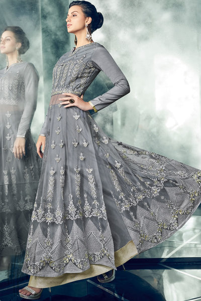 Indi Fashion Slate Blue Mono Net Long Jacket Style Party Wear Lehenga Set