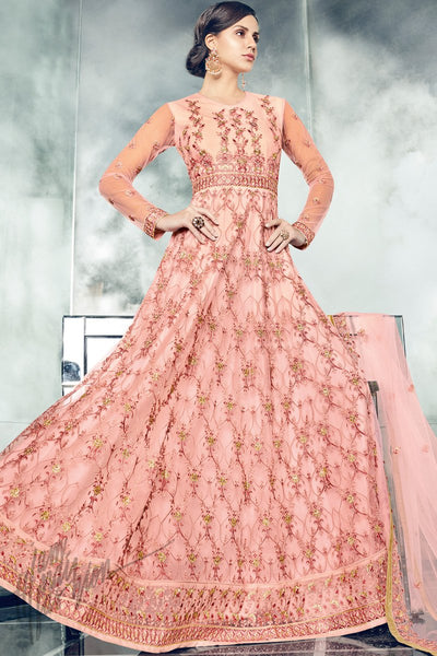 Indi Fashion Pink Mono Net Floor Length Party Wear Suit