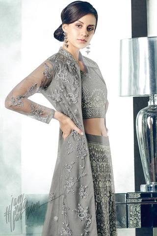 Indi Fashion Gray Mono Net Long Jacket Style Party Wear Lehenga Set
