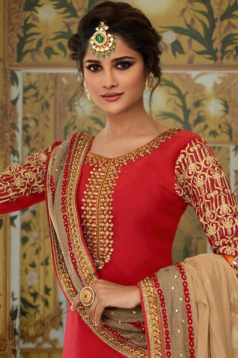 Red and Beige Georgette Party Wear Palazzo Suit