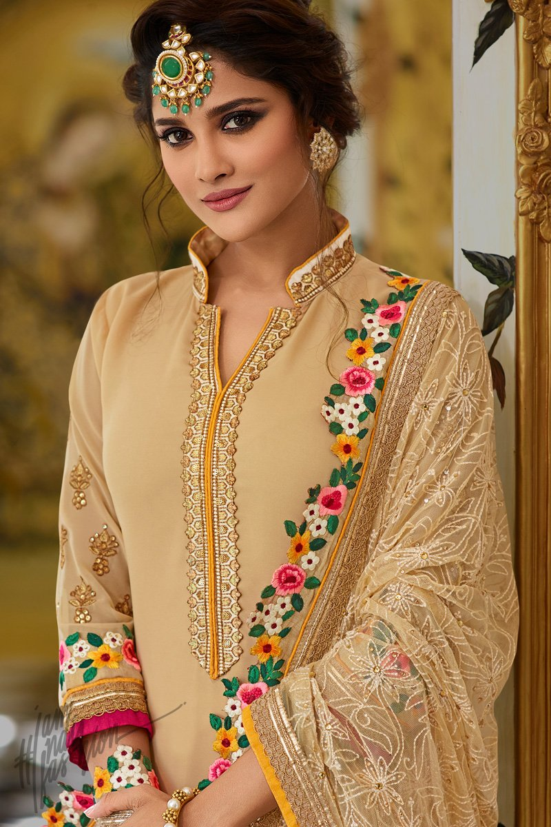 Beige Georgette Party Wear Palazzo Suit