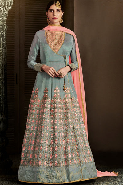 Indi Fashion Gray and Peach Silk Angrakha Style Party Wear Suit