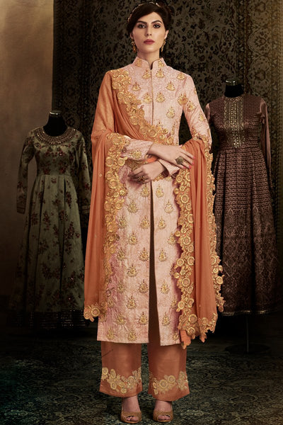 Indi Fashion Peach and Rust Brocade Long Jacket Style Party Wear Straight Suit