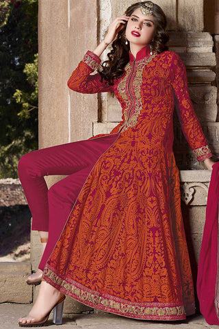 Indi Fashion Magenta and Orange Georgette Party Wear Suit