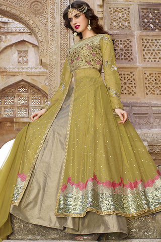 Indi Fashion Green and Beige Net Lehenga Style Party Wear Suit