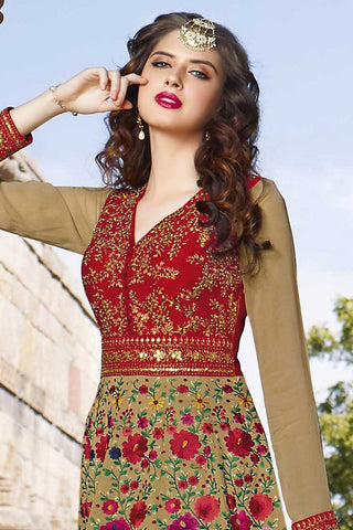 Indi Fashion Mehandi Green and Red Silk Party Wear Suit
