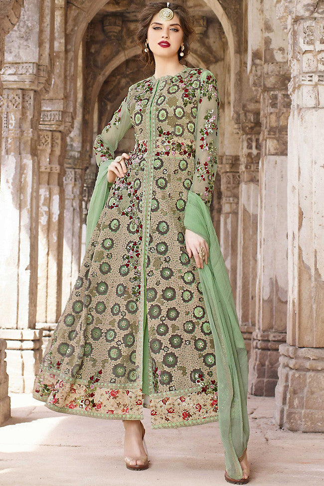 Indi Fashion Green and Beige Net Party Wear Suit