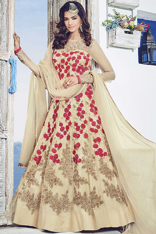 Indi Fashion Beige and Red Net Party Wear Suit