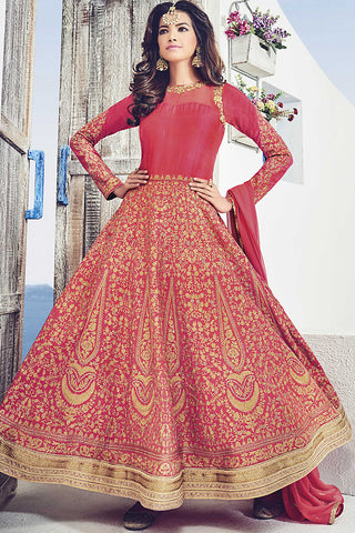 Indi Fashion Red and Gold Raw Silk Party Wear Suit