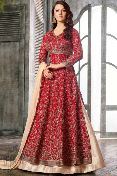 Indi Fashion Red and Beige Satin Lehenga Style Party Wear Suit