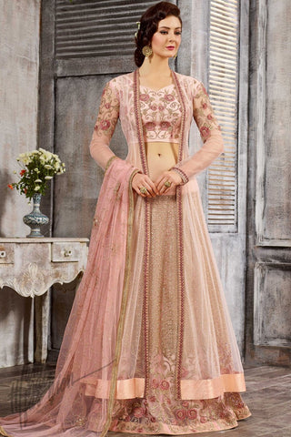 Indi Fashion Baby Pink Satin and Net Party Wear Lehenga Set
