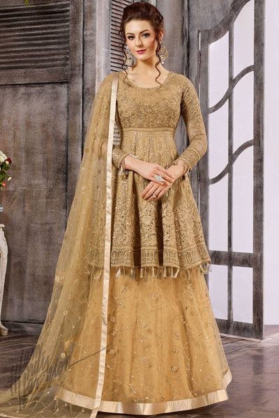 Indi Fashion Desert Brown Net Long Choli Party Wear Lehenga Set