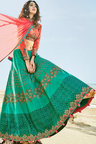 Blossom Green and Coral Pink Barfi Silk Lehenga Set