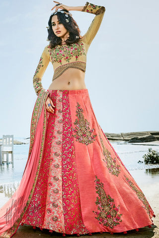 Blossom Peach Magenta and Beige Jacquard and Silk Lehenga Set