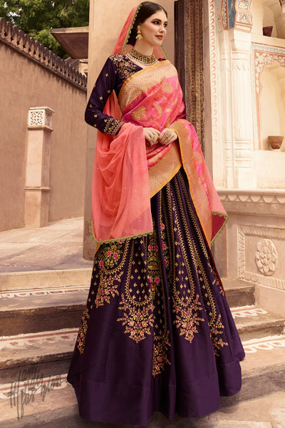 Wine and Pink Taffeta Silk Wedding Lehenga Set with Two Dupattas