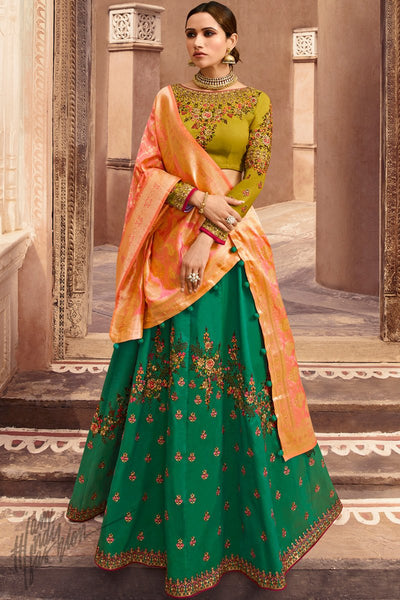 Green Mustard and Orange Taffeta Silk Wedding Lehenga Set with Two Dupattas