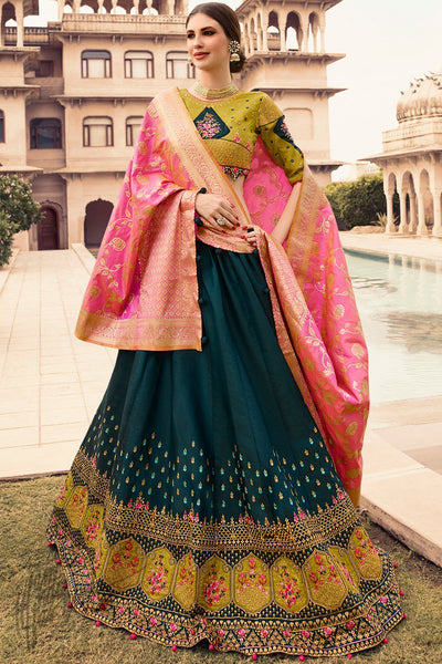 Navy Blue Mehandi Green and Pink Barfi Silk Wedding Lehenga Set with Two Dupattas