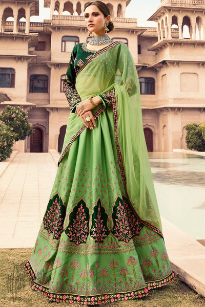 Green Barfi Silk Wedding Lehenga Set with Two Dupattas