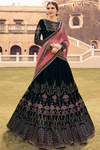 Navy Blue and Pink Velvet Wedding Lehenga Set