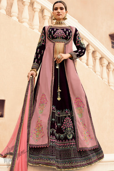 Dark Wine and Baby Pink Velvet Wedding Lehenga Set