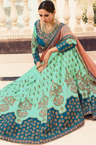 Sea Green Turquoise and Peach Barfi Silk Wedding Lehenga Set with Two Dupattas