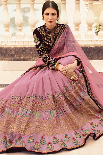 Baby Pink and Dark Wine Organza Silk Wedding Lehenga Set