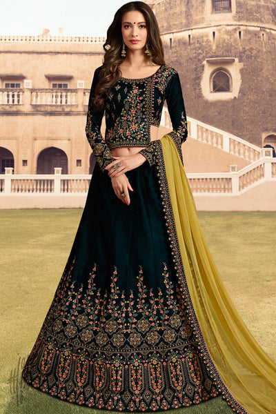 Dark Green and Mustard Velvet Wedding Lehenga Set