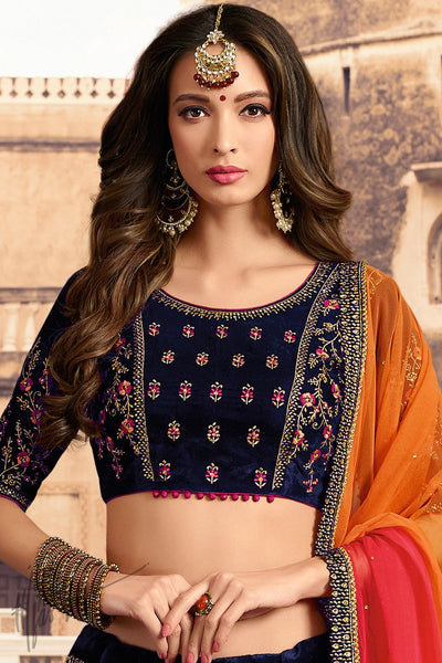 Navy Blue Orange and Red Velvet Wedding Lehenga Set
