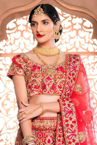 Indi Fashion Red and Gold Net Wedding Lehenga Set