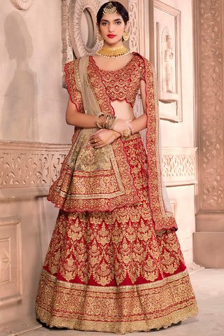 Indi Fashion Maroon and Gold Velvet Wedding Lehenga Set
