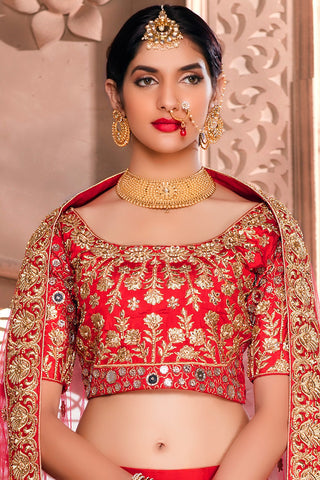 Indi Fashion Red and Dark Pink Art Silk Wedding Lehenga Set