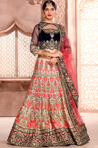 Indi Fashion Navy Blue Cream and Pink Satin Silk Wedding Lehenga Set