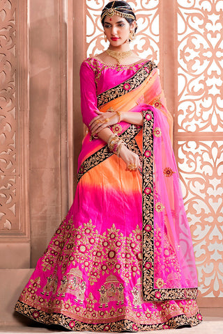 Indi Fashion Pink and Orange Ombre Art Silk Wedding Lehenga Set