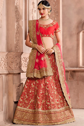 Indi Fashion Red and Gold Art Silk Wedding Lehenga Set