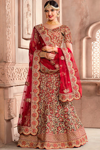 Indi Fashion Maroon and Gold Art Silk Wedding Lehenga Set