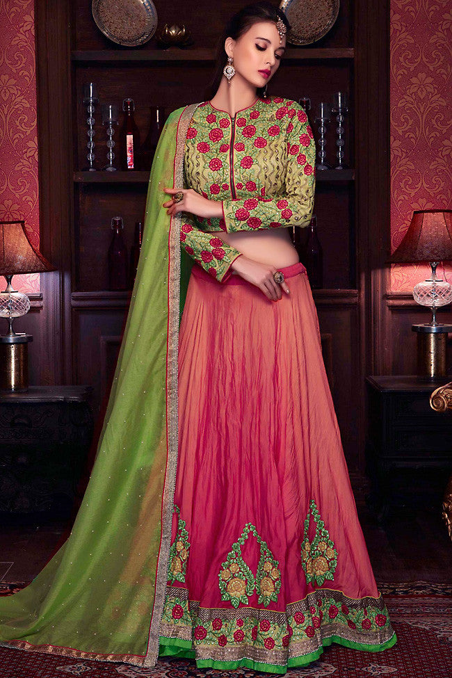 Buy Brick Red and Green Satin Georgette Wedding Lehenga Set Online at indi.fashion