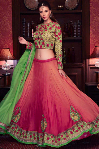 Indi Fashion Brick Red and Green Satin Georgette Wedding Lehenga Set