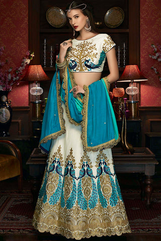 Indi Fashion White Sky Blue and Gold Raw Silk Wedding Lehenga Set
