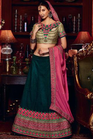 Indi Fashion Emerald Green and Fuchsia Art Silk Wedding Lehenga Set