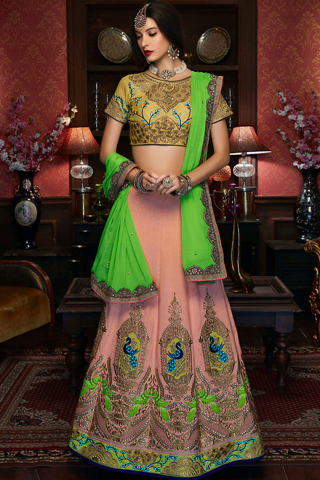 Buy Soft Peach and Olive Green Raw Silk Wedding Lehenga Set Online at indi.fashion