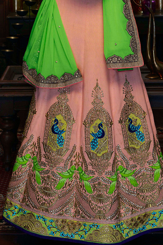 Indi Fashion Soft Peach and Olive Green Raw Silk Wedding Lehenga Set