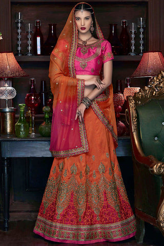 Indi Fashion Pink and Orange Art Silk Wedding Lehenga Set