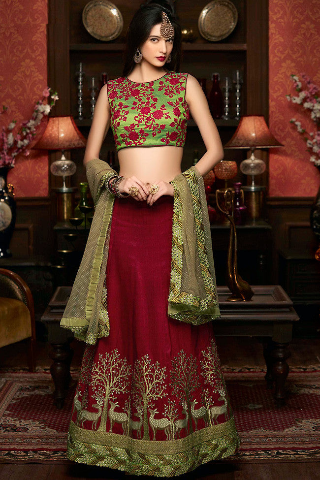 Buy Maroon and Forest Green Raw Silk Wedding Lehenga Set Online at indi.fashion