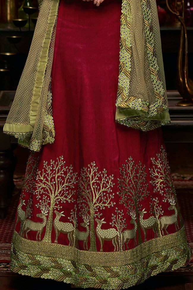 Indi Fashion Maroon and Forest Green Raw Silk Wedding Lehenga Set