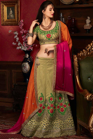 Indi Fashion Olive Green Orange and Pink Art Silk Wedding Lehenga Set