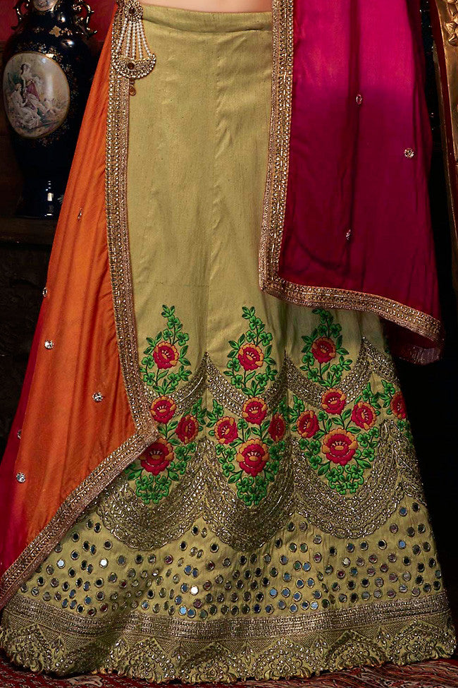Buy Olive Green Orange and Pink Art Silk Wedding Lehenga Set Online at indi.fashion